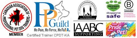 memberships - canadian association of professional pet dogs trainers, pet professionals guilde - no pain, no force, no fear - international association of animal behaviour consultants supporting, doggone safe, B Corporation, Take Pride in Your Pet, Certified Trainer CPDT-KA